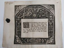 More details for death ticket funeral invitation 1710. gothic halloween skeleton skull