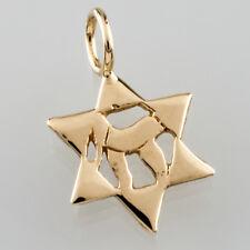 14k Yellow Gold Star of David Chai Pendant Gorgeous Gift Judaica