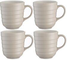 Mason Cash Set of Large Coffee Mugs Cocoa Mugs Gift Box Rippled Design Taupe