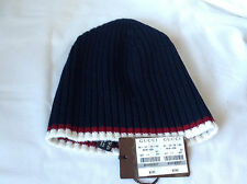 New Gucci 284585 Unisex Blue Lana Wool Ribbed Red White Stripe Beanie Hat Size M