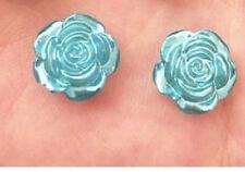 RESIN BLUE ROSE FLOWER STUD EARRINGS 12MM