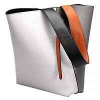 Fashion Colorful Women Genuine Leather Handbag Shoulder Bag Tote Bucket Purse
