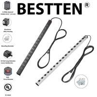 16-Outlet Heavy Duty Industrial Metal Power Strip /&12FT Cord Silver//Black UL ETL