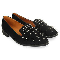 Womens Suede Loafers with Stud Details Pumps Ladies Trainers Shoes New