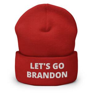 Let's Go Brandon Embroidered Cuffed Beanie, FJB Hat, Joe Biden USA Chant