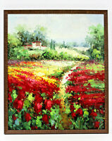 Red Poppies Country Fields 20 x 24 Art Oil Painting on Canvas w/Custom Frame