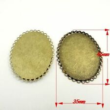 14PCS Antique Bronze Alloy Oval Lace Cameo Setting Pendant Charms Inner 40*30mm