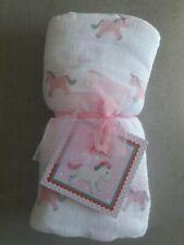 Mulltuch 120 x 120 cm mit rosa Einhörnern Spucktuch Wickeltuch unbenutzt
