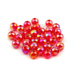 200 ROUND RED ACRYLIC AB CRYSTAL BEADS~6mm~Wine glass charms~Bracelet~Cord (49G)