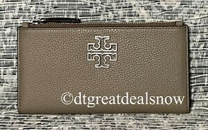 NWT Tory Burch Britten Slim Envelope Wallet In Pebble Leather French Gray
