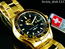 Invicta Men's 44mm Pro Diver SHARK SWISS MADE Ronda Black Dial 18K GP SS Watch