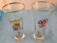 Set of 2 Beer Glasses Pilsner Urquell Becks Crystal Clear Glass Tumblers Barware