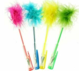 4 x Fluffy Gel Pens Green Yellow Blue Orange & Pink Party Bag Fillers School New