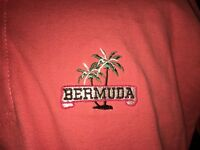 Pacific Blue Salmon Pink Golf Polo Shirt Mens XL 100% Cotton Bermuda Palm Trees