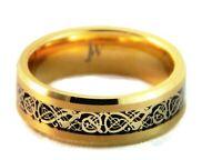 Tungsten Carbide Gold Men's Wedding Band,Tungsten Ring, Celtic Dragon Inlay