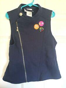 American Girl AG Doll Knit Denim Vest Medium M 10 12 Sleeveless Zipper EUC