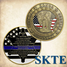 Thin Blue Line St. Michael Law Enforcement  Police Officers Motto Challenge Coin