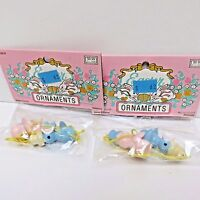 """Easter 2 Pkgs Baby Chicks Tree Orn, 2 Pink & 2 Blue 1.25"""" Tall, New in Pkg"""