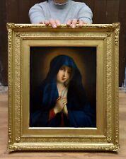 Fino Antiguo 19thC pintura al óleo de Santo Virgen María Retrato Barroco católica