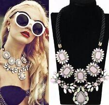 Statement Collier Strass Chunky Kette Halskette Blogger Choker Blumen rosa grün