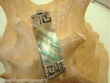 17mm Contemporary Australian Black-Lip Mother of Pearl Shell Crystal Bar Pendant