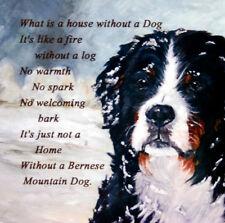 BERNESE MOUNTAIN DOG HARDBOARD PLAQUE TILE OIL PAINTING PRINT SANDRA COEN ARTIST