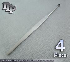 4 Pieces Of Fox Dermal Curette 4mm Surgical Dermatology Surgical DDP Instruments