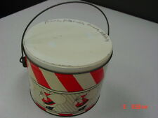 Vintage Tin Pail Bucket Marked Deco Tin Santa Clause Red White Bail Handle Lid