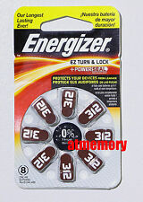 Energizer 312 PR41 AZ312 Zinc Air Hearing Aid Batteries 1.4V 8pcs in pack
