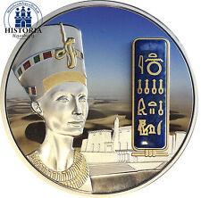 #655 Fiji 50 Dollar Silber 2012 Nofretete 2oz Silbermünze mit Gold & Edelstein