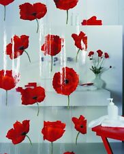 Spirella Poppy Cinnibar PEVA Plastic Transparent Shower Curtain with Poppy 180 x