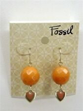 Fossil Drop Earrings Goldtone Amber Faceted Stone Logo Heart New! NWT