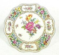 Antique Dresden Bouquet Floral Compote Reticulated Top & Base with Rare Hallmark