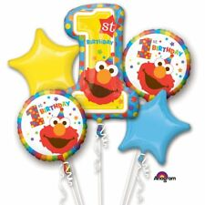 5 FOIL BALLOON BOUQUET CLUSTER PARTY DISPLAY - AGE 1 1ST BIRTHDAY ELMO SESAME ST