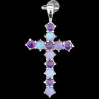 100% NATURAL PRECIOUS WELO OPAL & AFRICAN AMETHYST STERLING SILVER 925 PENDANT