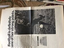 U2-1 ephemera 1971 folded advert barclays bank football is not her strong point