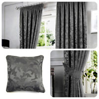Curtina ANDERTON Charcoal Grey Jacquard Pencil Pleat Curtains & Cushions