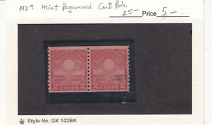 1929 MNH Regummed 2ct Carmine Edison's Light Bulb Coil Pair  #556 SCV=$25