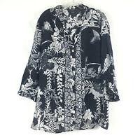Citron Santa Monica Sz 1x Tunic Top  Floral Black White Button Up Bamboo Rayon