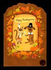Thanksgiving Cat Dog Wishbone Pumpkins Glittered Large Greeting Card W/ Tracking