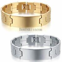 "Blank ID Stainless Steel Men's 16mm Wide Link Bracelet Bangle Wristband 8.1"""