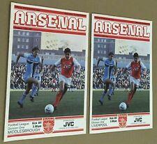 More details for arsenal v liverpool & arsenal v middlesbrough both postponed 1981/82