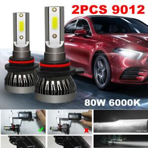 2PCS 9012 9V-36V LED Car Headlight Bulb High/Low Beam Lamp Kit 80W 6000K White