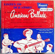 "VARIOUS FOLK BLUES listen to our story american ballads 10"" LP VG+ BL 59001"