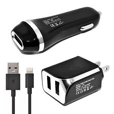 Verizon Apple iPhone 6s Plus USB 2.1 amp Car+Wall Adapter+5 FT Data Cable Black