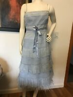 BCBG Max Azria Blue Strapless Dress With Ostrich Feathers Size 8
