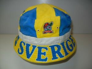 Vtg 90s 1994 Global Caps SWEDEN SVERIGE Flag WORLD CUP BUCKET HAT Soccer Sun Cap