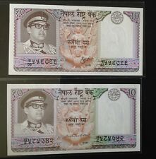 SCARCE !!NEPAL1974 Rs 10 KING IN MILITARY UNIFORM set of 2 P#24,sig. 9 &10 UNC.