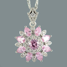 Round Pink Sapphire 18K White Gold Plated Flower Pendant Necklace Curb Chain