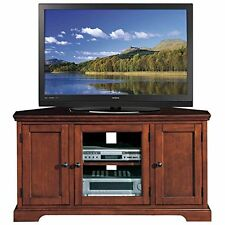 """Leick Riley Holliday Westwood Corner TV Stand with Storage-46""""-Brown Cherry"""